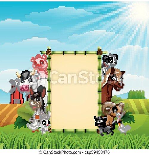 fattoria, bambù, vuoto, animali, segno - csp59453476