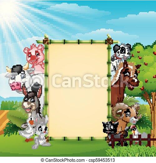 fattoria, bambù, vuoto, animali, segno - csp59453513