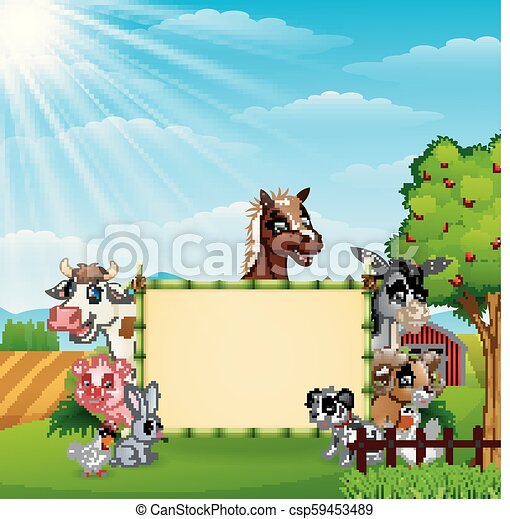 fattoria, bambù, vuoto, animali, segno - csp59453489