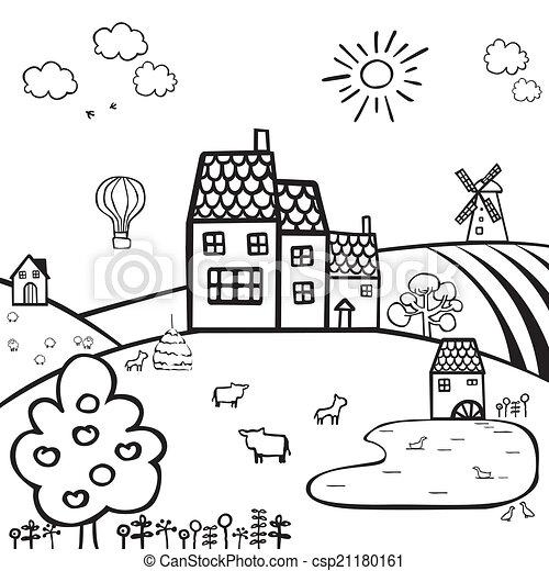Clip art vettoriale di fattoria bianco nero paesaggio for Piani di fattoria stonegate