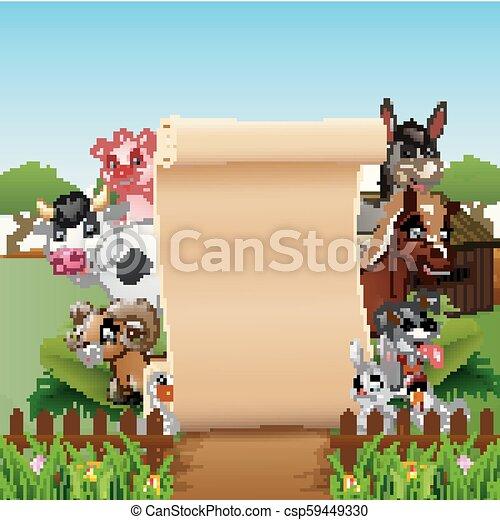 fattoria, carta, animali, segno bianco - csp59449330