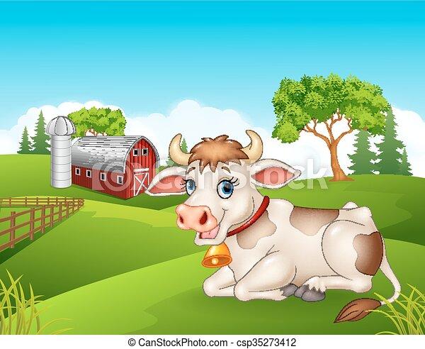 Casa fattoria campo e chicken vettore appartamento cartone