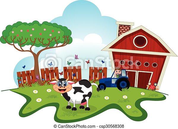 Fattoria cartone animato mucca fattoria disegno tuo for Piani di fattoria stonegate