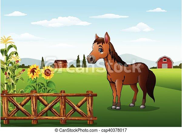 Fattoria cavallo marrone cartone animato cavallo marrone