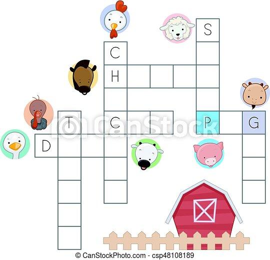 Fattoria Cruciverba Animali Circa Animali Puzzle Illustrazione