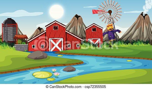 fattoria, esterno, scena - csp72355505