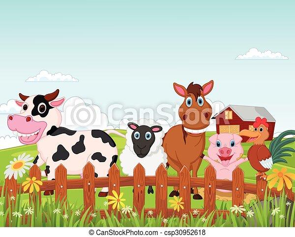Adesivo cartone animato scena rurale con animali da fattoria