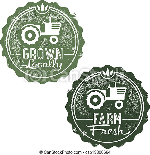 fattoria fresca, francobolli, locally, cresciuto - csp13300664