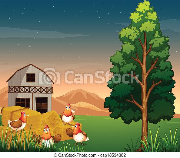 Fattoria hays gruppo polli illustrazione vettore for Piani di fattoria tedesca