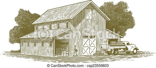 fattoria, lavoro, scena, woodcut - csp23559603