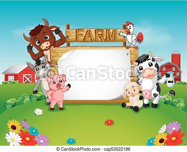 fattoria, legno, animali, collezione, segno - csp53022186