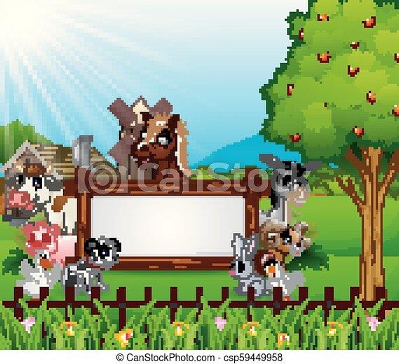 fattoria, legno, animali, segno bianco - csp59449958