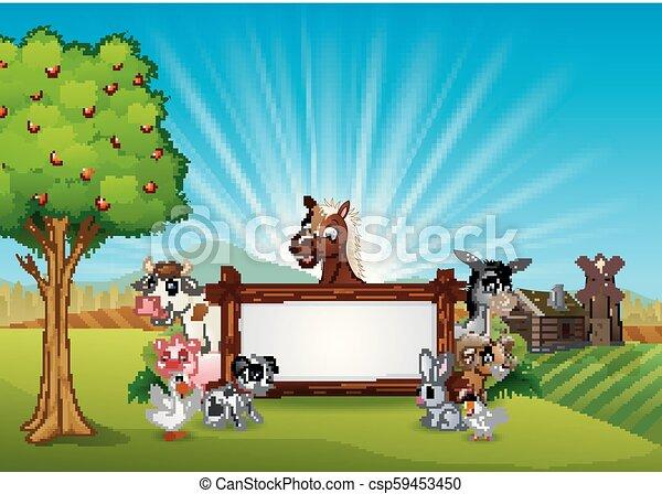 fattoria, legno, animali, segno bianco - csp59453450