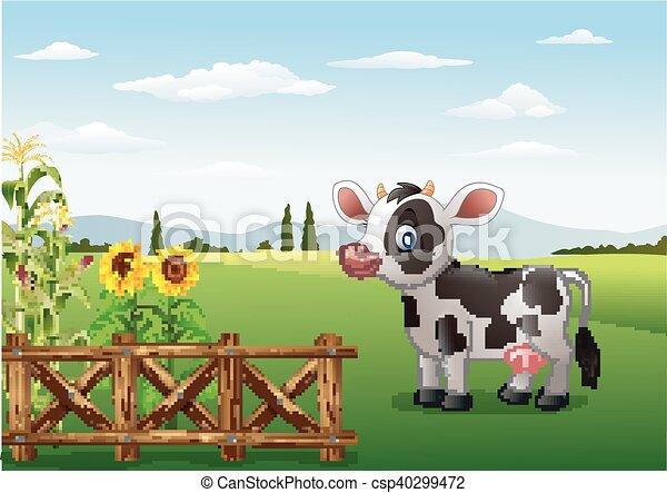 Fattoria mucca cartone animato paesaggio mucca for Piani di fattoria stonegate