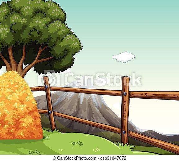 Fattoria mucchio fieno scena recinto fattoria for Piani di fattoria con veranda