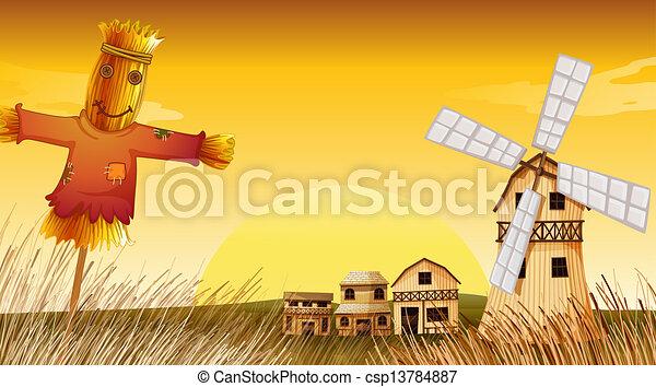 Fattoria mulino vento spaventapasseri illustrazione for Piani di fattoria tedesca
