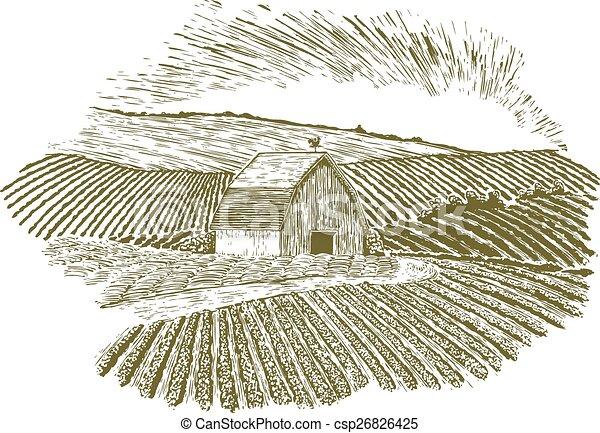 fattoria, rurale, regolazione, woodcut - csp26826425