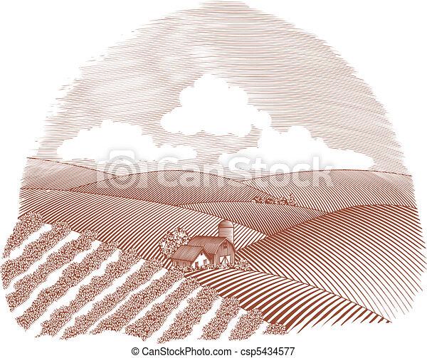 fattoria, scena rurale, vignette - csp5434577