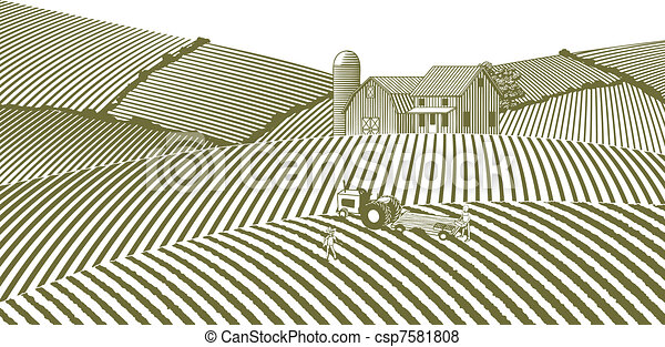 fattoria, senza, cielo, woodcut - csp7581808