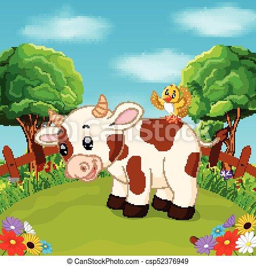 Fattoria sorriso cartone animato mucca felice mucca fattoria