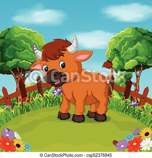 Fattoria sorriso felice cartone animato toro fattoria