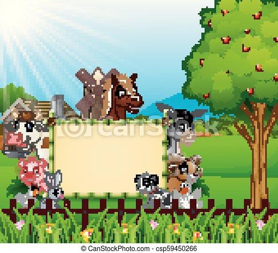 fattoria, vuoto, animali, asse, segno - csp59450266
