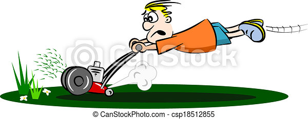 fauchage, dessin animé, pelouse, type - csp18512855