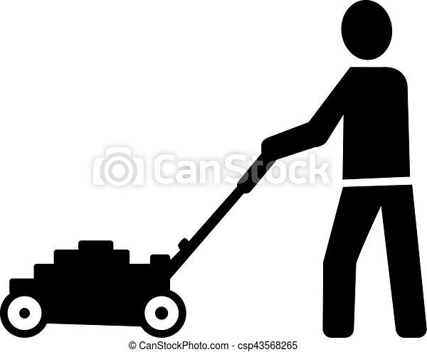 faucheur, pelouse, homme, pictogramme - csp43568265