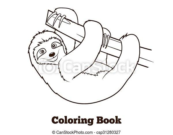 Faultier, färbung, abbildung, karikatur, vektor, buch.... Vektor ...