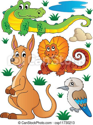 fauna, australiano, 2, conjunto, fauna - csp11730213