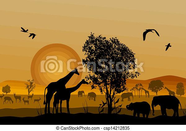 Silueta de vida salvaje de los safaris - csp14212835
