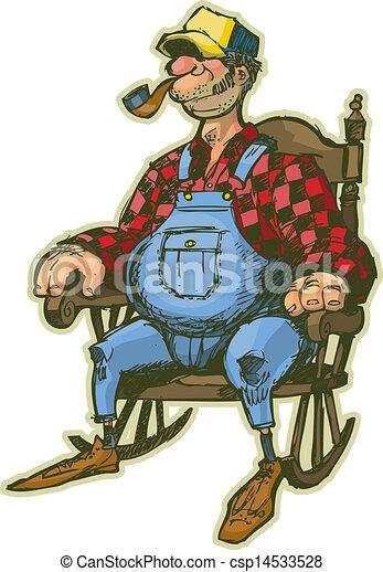 fauteuil bascule, homme âgé - csp14533528