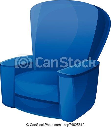 fauteuil, icône, bleu, style, dessin animé - csp74625610