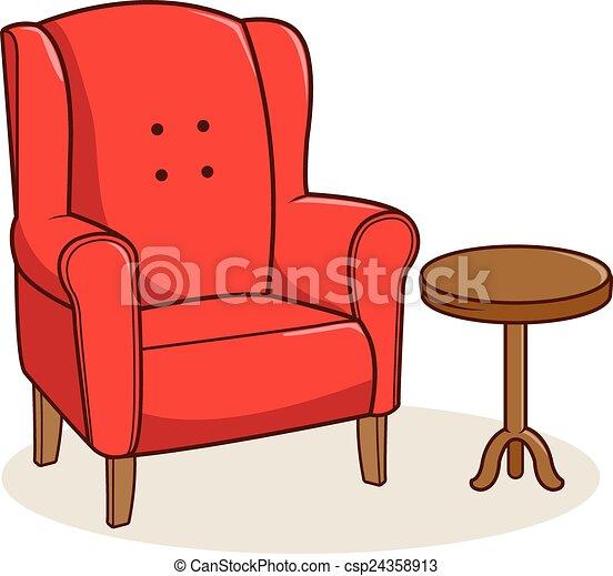 fauteuil, illustration, vecteur, table., côté, rouges - csp24358913