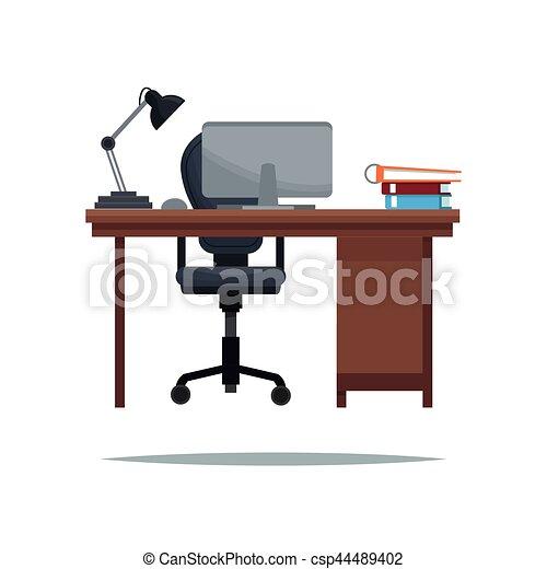 fauteuil ordinateur portable travail lampe livre clipart vectoriel rechercher. Black Bedroom Furniture Sets. Home Design Ideas