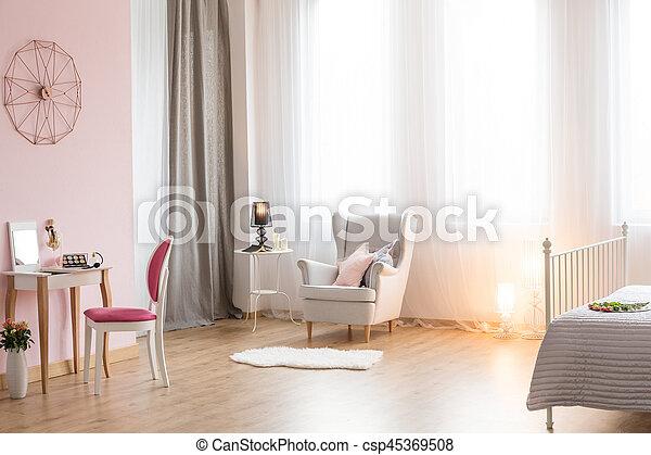 Fauteuil, Romantique, Chambre À Coucher