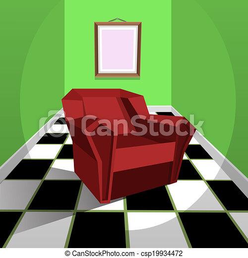 fauteuil, rouges - csp19934472