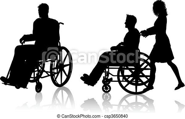 fauteuil roulant, femme, homme - csp3650840