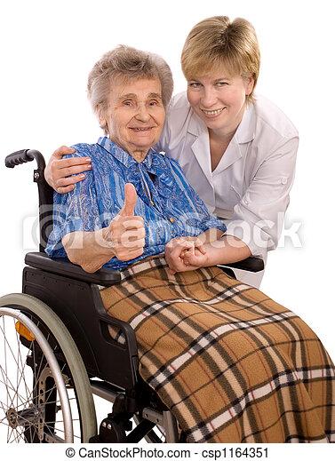 fauteuil roulant, femme, personnes agées - csp1164351