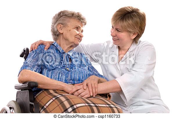 fauteuil roulant, femme, personnes agées - csp1160733