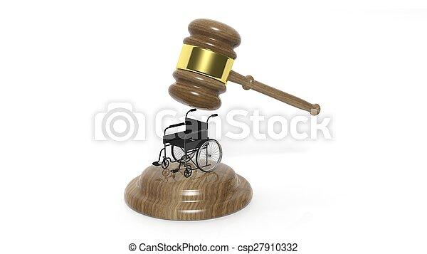 fauteuil roulant, incapacité, isolé, noir, marteau, blanc - csp27910332