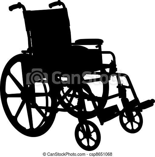 fauteuil roulant, silhouette, blanc, isolé - csp8651068