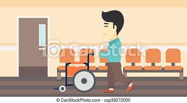 fauteuil roulant vecteur illustration pousser homme