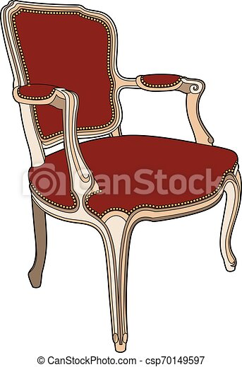 fauteuil, style, rouges - csp70149597