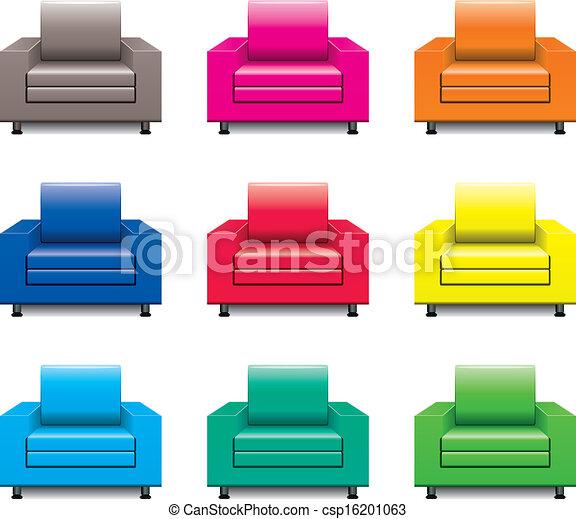 fauteuil, vecteur, ensemble, coloré - csp16201063