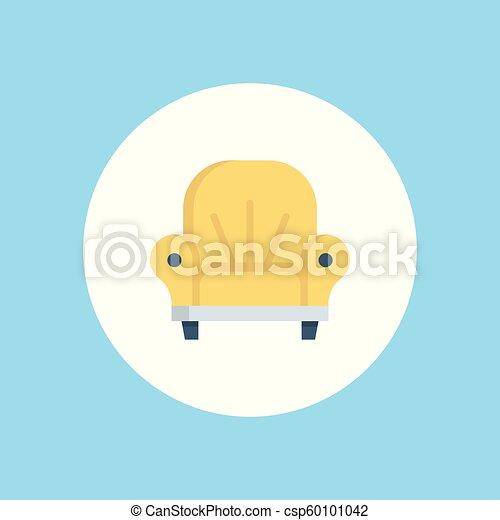 fauteuil, vecteur, icône - csp60101042