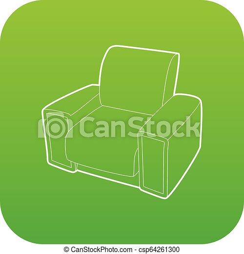 fauteuil, vecteur, vert, icône - csp64261300