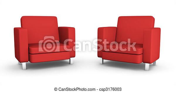 fauteuils, deux, rouges - csp3176003