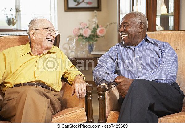 fauteuils, personne âgée hommes, délassant - csp7423683