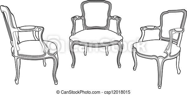 fauteuils, style, trois, dessin - csp12018015